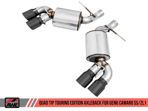 AWE Tuning Touring Edition Axleback Exhaust for Gen6 Camaro SS / ZL1 - Diamond Black Tips (Quad Outlet)