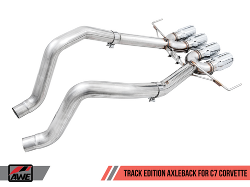 AWE Tuning Track Edition Axleback Exhaust for C7 Corvette without AFM Valves - Z06 / ZR1 / Z51 Manual 17+ / GS Manual -- Chrome Silver Tips
