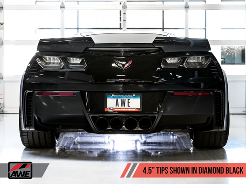 AWE Tuning Track Edition Axleback Exhaust for C7 Corvette without AFM Valves - Z06 / ZR1 / Z51 Manual 17+ / GS Manual -- Diamond Black Tips