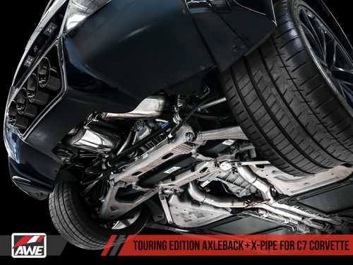 AWE Tuning Touring Edition Axleback Exhaust for C7 Corvette without AFM Valves - Z06 / ZR1 / Z51 Manual 17+ / GS Manual -- Chrome Silver Tips