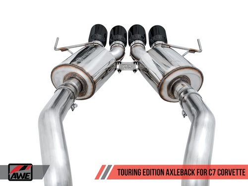 AWE Tuning Touring Edition Axleback Exhaust for C7 Corvette without AFM Valves - Z06 / ZR1 / Z51 Manual 17+ / GS Manual -- Diamond Black Tips