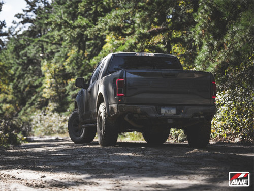 """AWE Tuning 0 FG Exhaust for Gen 2 Ford Raptor (Resonated Peformance Cat-back) - Diamond Black 5"""" Tips"""