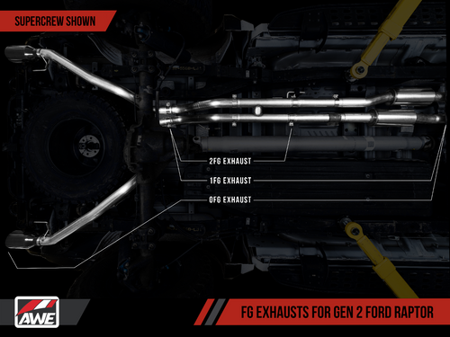 AWE Tuning 1 FG Exhaust for Gen 2 Ford Raptor (Resonated Peformance H Pipe)