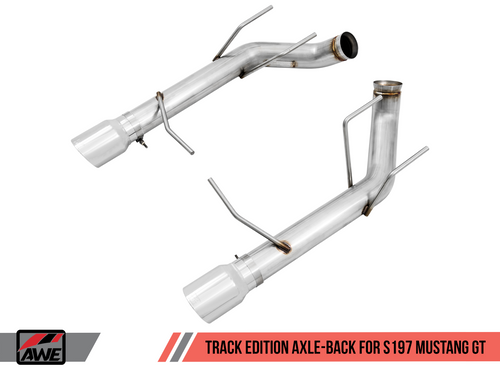 AWE Tuning Track Edition Axle-back Exhaust for the S197 Ford Mustang GT - Chrome Silver Tips