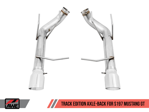 AWE Tuning Track Edition Axle-back Exhaust for the S197 Ford Mustang GT - Diamond Black Tips