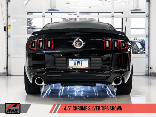 AWE Tuning Touring Edition Axle-back Exhaust for the S197 Ford Mustang GT - Chrome Silver Tips