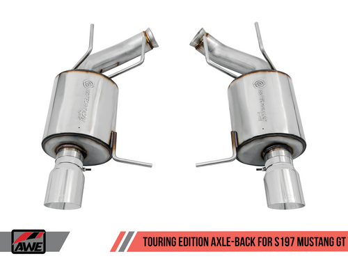 AWE Tuning Touring Edition Axle-back Exhaust for the S197 Ford Mustang GT - Diamond Black Tips