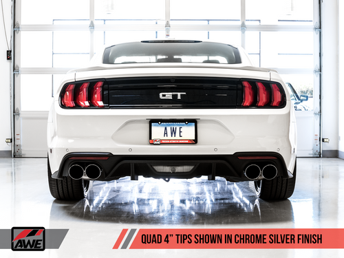 AWE Tuning Track Edition Cat-back Exhaust for the 2018+ Mustang GT - Quad Chrome Silver Tips
