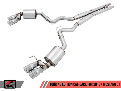 AWE Tuning Touring Edition Cat-back Exhaust for the 2018+ Mustang GT - Quad Chrome Silver Tips