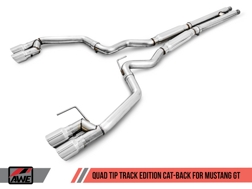 AWE Tuning Track Edition Cat-back Exhaust for 15-17 S550 Mustang GT - Quad Outlet - Chrome Silver Tips (GT350 Valance)