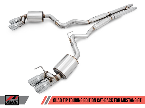 AWE Tuning Touring Edition Cat-back Exhaust for 15-17 S550 Mustang GT - Quad Outlet - Chrome Silver Tips (MPC Valance)