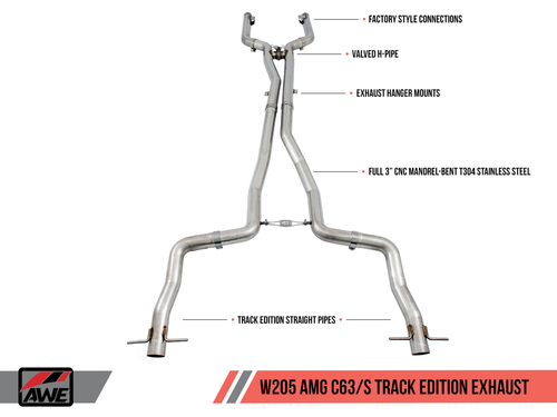AWE Tuning Track Edition Exhaust System for Mercedes-Benz W205 AMG C63/S Sedan (no tips)
