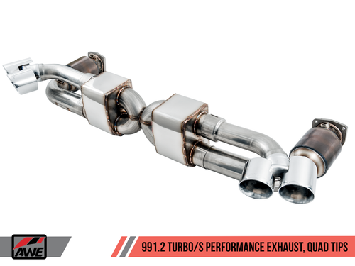 AWE Tuning Performance Exhaust and High-Flow Cat Sections for Porsche 991.2 Turbo - With Chrome Silver Quad Tips