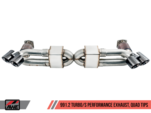 AWE Tuning Performance Exhaust and High-Flow Cat Sections for Porsche 991.2 Turbo - With Diamond Black Quad Tips