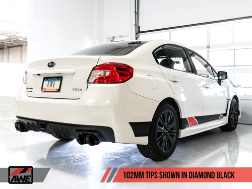 AWE Tuning Track Edition Exhaust for VA / GV WRX / STI Sedan - Diamond Black Quad Tips (102mm)