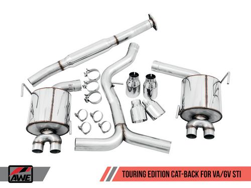 AWE Tuning Touring Edition Exhaust for VA STI / GV WRX / GV STI Sedan - Diamond Black Quad Tips (102mm)