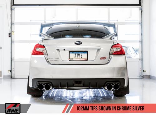 AWE Tuning Touring Edition Exhaust for VA STI / GV WRX / GV STI Sedan - Chrome Silver Quad Tips (102mm)