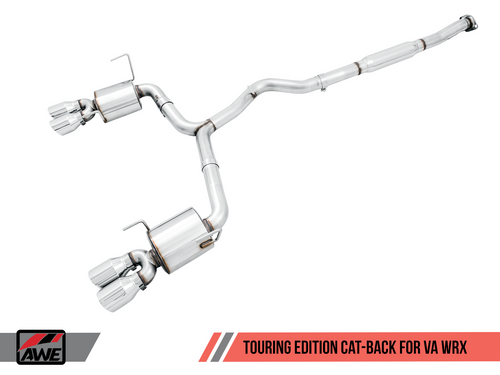 AWE Tuning Touring Edition Exhaust for 2015+ VA WRX Sedan - Chrome Silver Quad Tips (102mm)