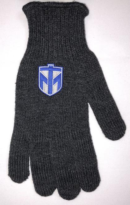 Grey Large Gloves Logo Fit