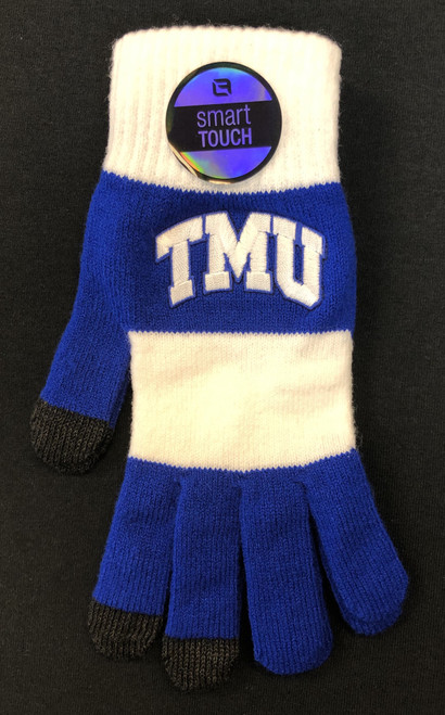 Royal and White Striped Touch Gloves Logo Fit