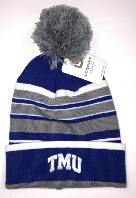 TMU Striped Knit Cuffed Beanie w/ Pom