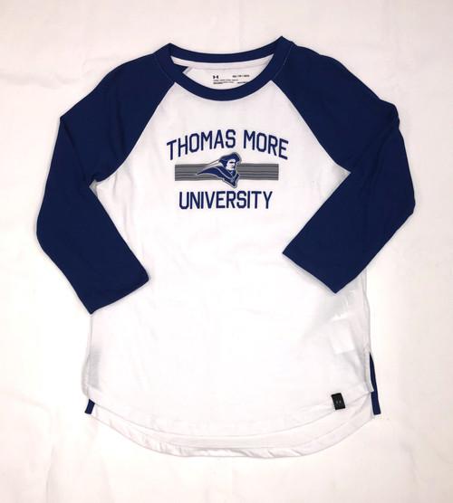 Women's White w/ Royal Sleeves Baseball Tee University