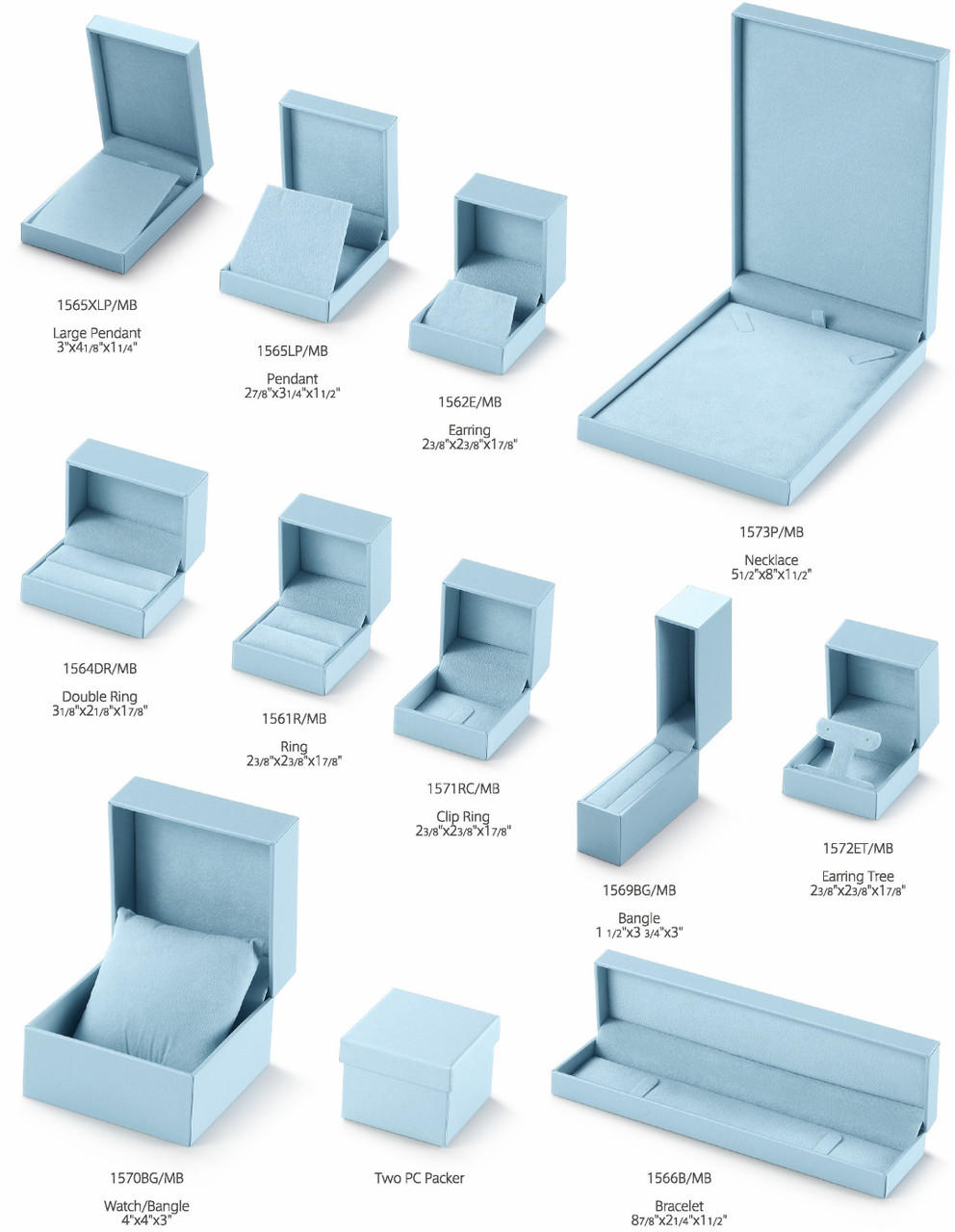 Leatherette/Suede boxes - Metallic Blue