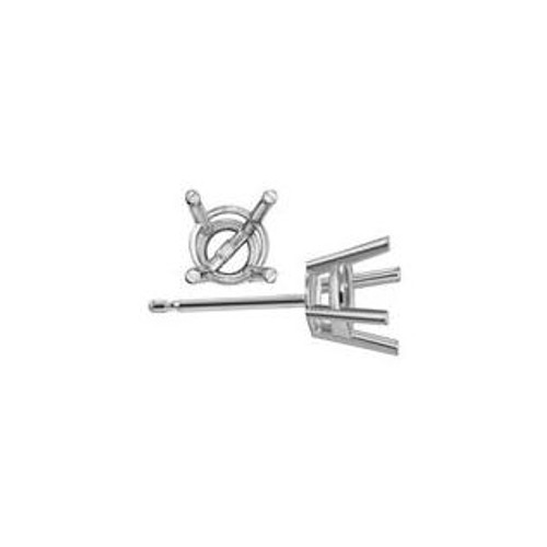 .40 Ct Sterling Silver 4 Prong Round Earring Basket