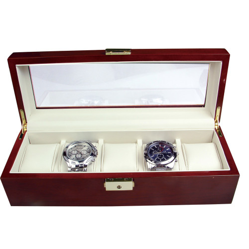 5 Watches Glass Top RoseWood Watch Case With Lock CBW120-RW