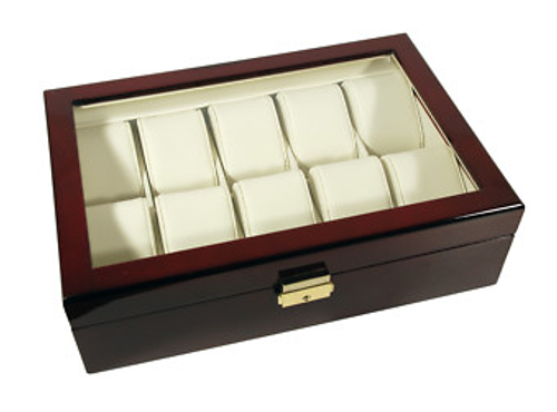10 Watches Glass Top RoseWood Watch Case With Lock CBW220-RW
