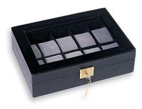 10 Watches Glass Top Black Leatherette Watch Case With Lock CBW220-BK