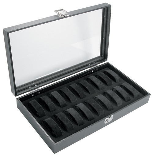 Black Glass Top Watch Case With 18 Collars