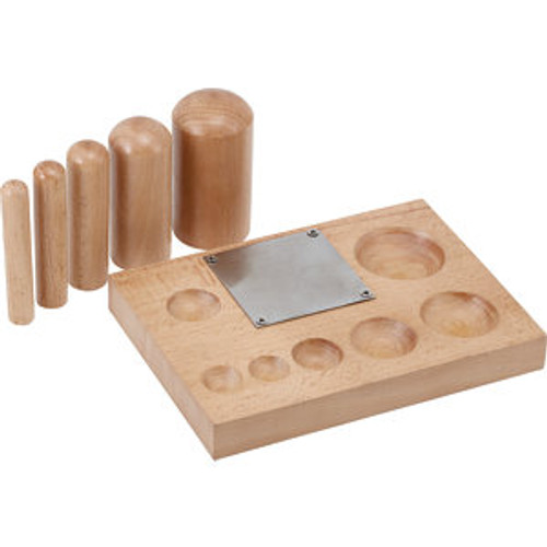 Non Marring Shaping Block With 5 Wooden Dapping Punches