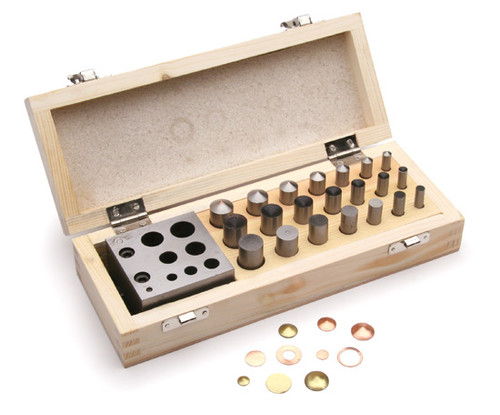"Disc Cutter Set Of 21 Pcs 1/4"" to 5/8""  With 7 Punches In Wood Box"