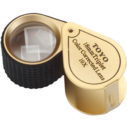 Premium 18mm triplet 10X loupe gold