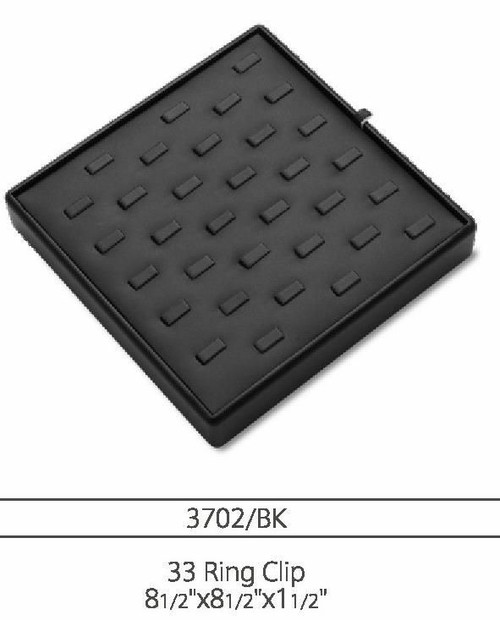 33 Ring Clip Leatherette Ring Tray