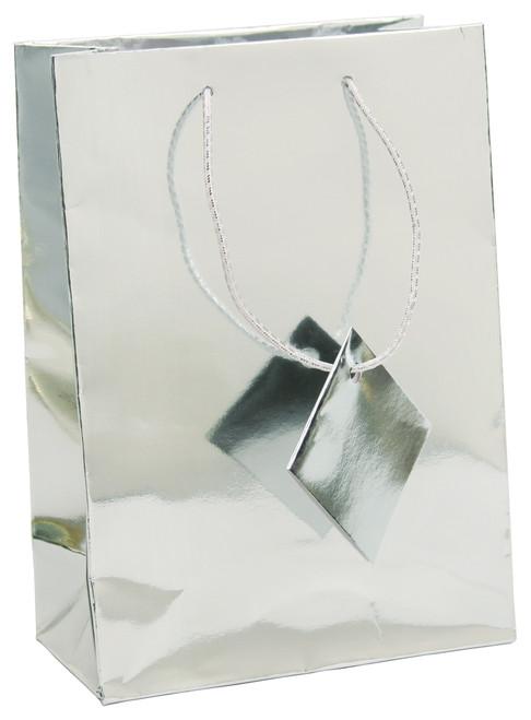 Metallic Silver Paper Tote Bags