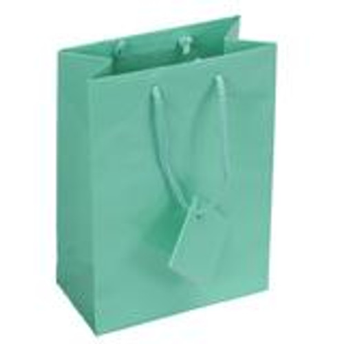 Glossy Teal Blue Paper Tote Bags