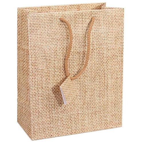 Burlap Print Paper Tote Bags