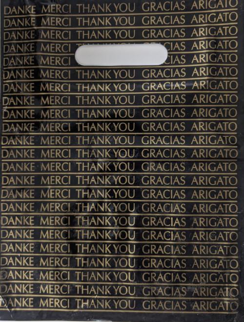Gold/Black Thank You Plastic Bag