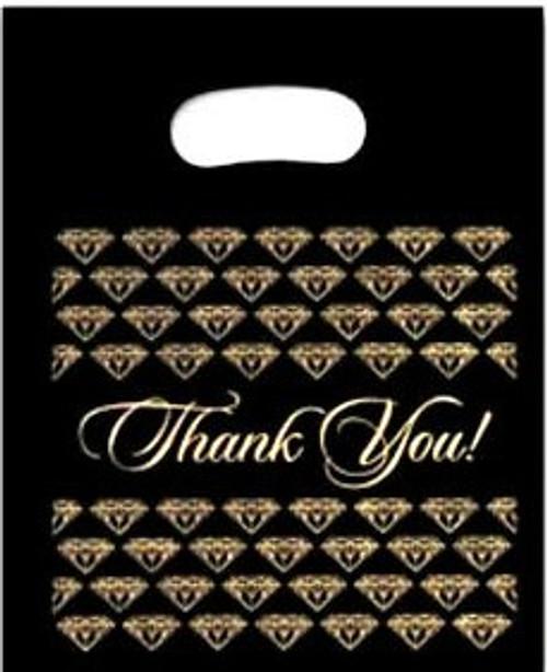 Gold/Black Diamond Plastic Bag