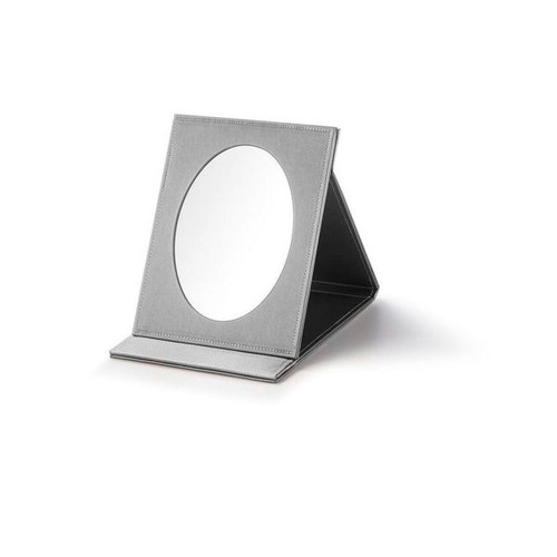 "Small Oval Fold-able  Mirror  Leatherette  7 x  3/4"" x 9"""