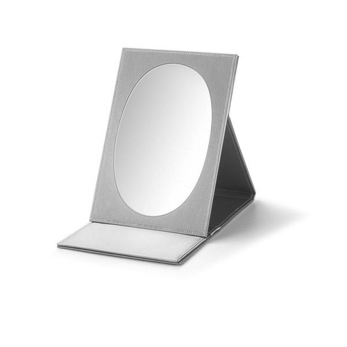"Large Oval Fold-able  Mirror  Leatherette 8 1/4 x  3/4"" x 11 3/4"""