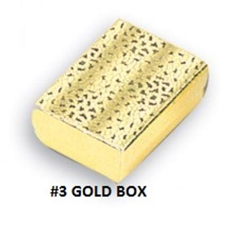 #3 Gold Cotton Filled Box 3 1/4''W x 2 1/4''D x 1''H (100 pcs.)