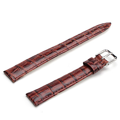 14mm Light Brown Unisex Genuine Leather Watch Strap