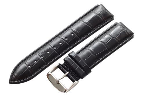 16mm Black Unisex Genuine Leather Watch Strap