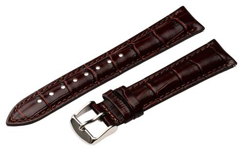 18mm Dark Brown Unisex Genuine Leather Watch Strap