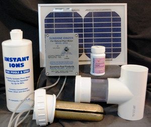 Deluxe Solar Powered Pool Sunshine Ionizer Model SPDSWS Has electrodes containing silver. Treats 50,000 Gallons