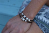 Custom Sterling Silver Bead on Leather Keepsake Bracelet