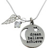 Dream Believe Achieve Necklace with Swarovski Crystal and Sterling Silver Wing